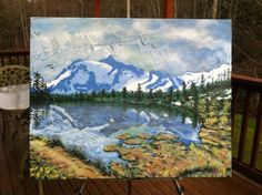 """Cascade Mountain"" (18"" by 20"" acrylic on canvas)"