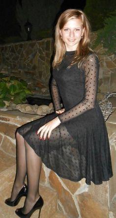 Sexy black sheer dress with sheer black pantyhose and heels Fembois, Black Pantyhose, Black Tights, Special Girl, Pretty Boys, Crossdressers, Sexy Dresses, Dress Skirt, Sheer Dress