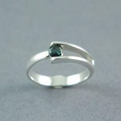 Dark Green Tourmaline Split Band Ring Made to by BlackLotusDesign, $125.00