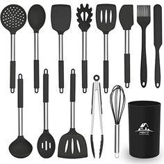 MIBOTE Kitchen Utensils Set, 14 pcs Silicone Cooking Kitchen Utensils Set with Heat Resistant BPA-Free Silicone and Stainless Steel Handle Turner Spatula Spoon Tongs Whisk Cookware Kitchen Tools Set - Price: Product Description Kitchen Utensils List, Silicone Kitchen Utensils, Kitchen Utensil Holder, Cooking Utensils Set, Cooking Tools, Kitchen Tools, Chef Kitchen, Kitchen Dining, Kitchen Furniture