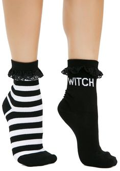 Killstar Witchy Bitchy 3-Pack Socks cuz witches get cold feet too. This 3-pack set of socks have pentagram, stripe and 'witch' pattern and lace trim.