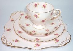 Teacup & Saucer Tuscan Vintage China Pink Matching Plate Trio Flowers Roses