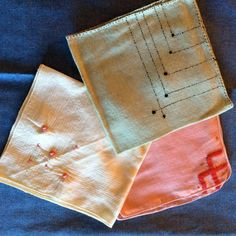 Sale !  Three Vintage Hankercheif's or Hankies.  Handmade and Stitched by hand, Cotton Fabric