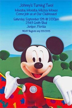 Mickeys Clubhouse Birthday Invitation features a smiling Mickey Mouse with invitin open arms. There is a green patch of grass behind him with a blue sky above and a red swirl with different primary colored shapes running across the bottom. Mickey Mouse Clubhouse Invitations, Mickey Mouse Party Supplies, Disney Mickey Mouse Clubhouse, Mickey Mouse Parties, Mickey Party, Mickey Mouse And Friends, Mickey Mouse Birthday, Mickey Minnie Mouse, Disney Invitations
