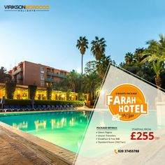 When In Doubt... Book A Holiday! Book for Your Vacations Now, Package included 5 Nights' Accommodation with Direct Flights ✈, Airport Transfers, Standard Room & Breakfast in Farah Hotel & Spa Marrakech Starting from Just £ 255/-Pp.  We'd love to hear from you: ☎ 020 37455788 💬 with a Travel Agent  #africa #Morocco #marrakech #london #Wanderlust #Traveltheworld @viriksonmoroccoholidays Direct Flights, Spa Packages, Morocco Travel, Hotel Spa, Marrakech, Vacations, Wanderlust, Africa, Packaging