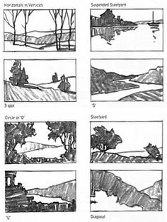 composition in art - Bing images Landscape Sketch, Landscape Drawings, Landscape Art, Landscape Paintings, Landscapes, Drawing Lessons, Drawing Techniques, Drawing Tips, Storyboard