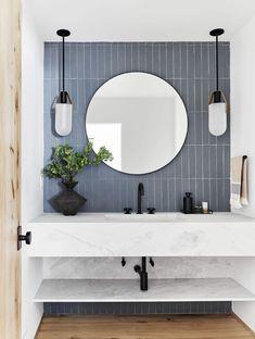 How to Design a Modern, Dramatic Powder Room The First Mountain House Bathroom Reveal: Our Quiet Drama Powder Bath Bad Inspiration, Bathroom Inspiration, Modern Bathroom Design, Bathroom Interior Design, Minimal Bathroom, Bath Design, Tile Design, Neutral Bathroom, Vanity Design