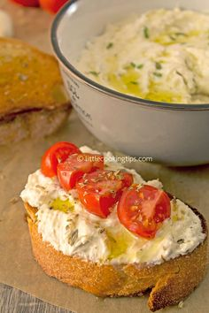 How to make Greek Whipped Feta (Tyrosalata) - Appetizers/Snacks/Crackers etc. Mediterranean Diet Recipes, Mediterranean Dishes, Appetizers For Party, Appetizer Recipes, Antipasto Recipes, Greek Appetizers, Feta Cheese Recipes, Vegetarian Recipes, Cooking Recipes