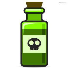 Green bottle of poison, free vector
