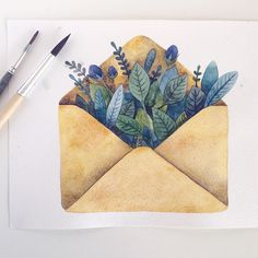 "700 Me gusta, 7 comentarios - Maria Alekseeva (@come.on.maria) en Instagram: ""#illustration #watercolor #watercolour #topcreator #art #artist #artwork #painting #envelope…"""