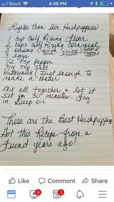 Lighter than air Hushpuppies Old Recipes, Vintage Recipes, Fish Recipes, Seafood Recipes, Bread Recipes, Cooking Recipes, Recipies, Biscuit Bread, Fried Fish