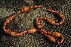 Red orange yellow paper bead necklace  Made in by TheMountainLodge, $7.50