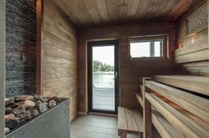 Wooden Architecture, Interior Architecture, Modern Saunas, Sauna Design, Outdoor Sauna, Finnish Sauna, Backyard Buildings, Steam Room, Wooden House