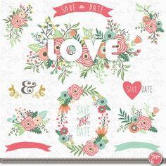 "Wedding clipart pack: ""FLORAL LOVE"", vintage flowers, floral frames, wreath, wedding, invitation, wedding flower, 15 Png files 300 dpi.Wd170"