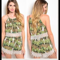 "pineapple princess Sz large Pineapple princess short set   Large   Large bust up to 38 elastic waist up to 34 hips up to 36  Top length shoulder down 17"" Shorts length 14""  AMAZING Quality   RETAIL brand new but no tags  100% polyester Shorts"