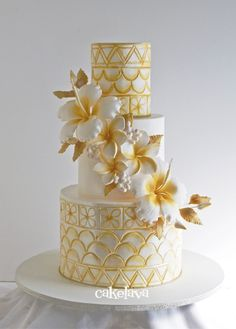 Gorgeous Art Deco and Hibiscus wedding cake! Perfect for a South Florida wedding!