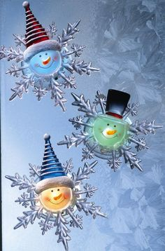 New Assorted Led Snowman On Snowflake Window Suctions