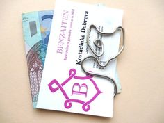 Fox Business card / Money clip, handmade, silvered copper wire, men, women
