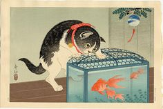 View and purchase art by Ohara Koson and other Japanese artists. Extensive online gallery includes hundreds of fine prints. Japanese etchings, wood block, silkscreen, stencil from famous artists. Japanese Artwork, Japanese Painting, Japanese Prints, Japanese Bobtail, Japanese Cat, Asian Cat, Ohara Koson, Art Asiatique, Art Et Illustration