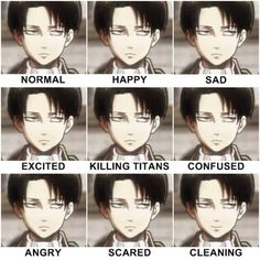 The many faces of Captain Levi | Attack on Titan Levi has been though so much. He's seen many comrades die, no wonder he's like this.