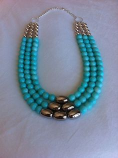 Mint and Silver Statement Necklace Glass Bead