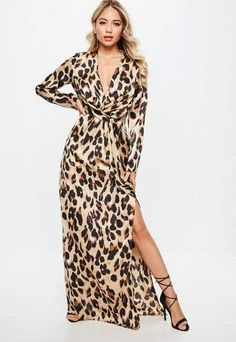 2141006718 Missguided Gold Leopard Print Wrap Front Maxi Dress
