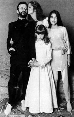 Ringo Starr and Barbara Bach wedding, with daughters.