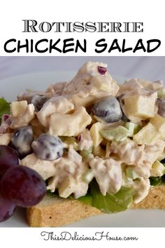 Rotisserie Chicken Salad with Grapes is an easy and delicious appetizer or sandwich and a perfect way to use up leftover rotisserie chicken. #rotisseriechickensalad #chickensaladrecipe Grape Recipes, Easy Salad Recipes, Chicken Salad Recipes, Easy Salads, Healthy Dinner Recipes, Rotisserie Chicken Salad, Leftover Rotisserie Chicken, Barbecue Recipes, Grilling Recipes