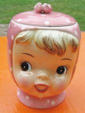 MISS CUTIE Cookie Jar Vintage 50's Pink Napco Adorable Little Girl
