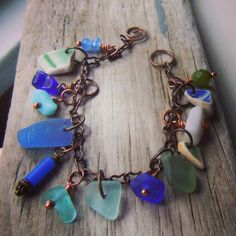 Reserved for Angela Law:  Shipwrecked Beach Bracelet... Vermont Islands Blue, Green Beach Glass and Beach Pottery