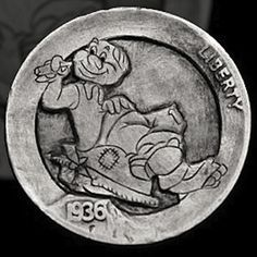 JIM BROYLES HOBO NICKEL - HOBO - 1936 BUFFALO NICKEL Hobo Nickel, Coin Art, Betty Boop, Art Forms, Sculpture Art, Buffalo, Coins, Carving, Guided Meditation