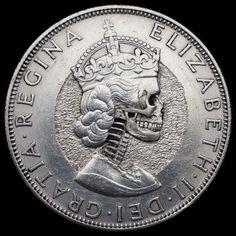Hand Carved Queen Elizabeth Skull   By:  Seth Basista  Hobo nickel coin