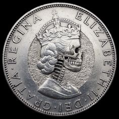 Hand Carved Queen Elizabeth Skull   By:  Seth Basista  Hobo nickel coin