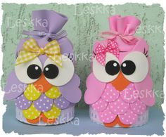 Owl decorations for jars Kids Crafts, Owl Crafts, Diy And Crafts, Paper Crafts, Tamara, Sewing Projects, Projects To Try, Owl Bags, Owl Always Love You