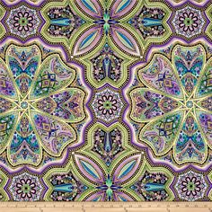 Designed by Peggy Toole for Robert Kaufman, this cotton print fabric is perfect for quilting, apparel and home decor accents. Colors include shades of purple, navy, green, royal and blue with gold metallic accents.