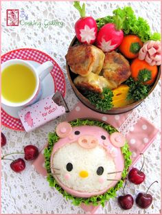 Recipe: Piggy Hello Kitty Kyaraben Bento by Cooking Gallery