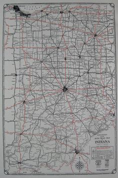 Antique Colorado State Map Auto Trails Road Map RARE Poster - Us map 1930