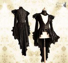 Victorian cardigan black Steampunk robe lace by SomniaRomantica