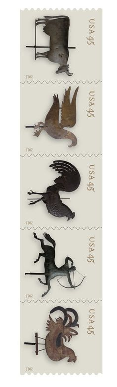 I don't know what category this belongs in. Design? but it's stamps!?   weathervane USA postage stamps