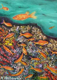"""claefin Anthias on Hard and Soft Coral"" by Nuala Holloway - Oil & Sand on Canvas (Part of Nuala's ""Coral Collection"" bringing attention to the beauty of this important and endangered Oceanic eco-system) #Art #Coral #Ecosystem #Endangered #IrishArtist #NualaHolloway"