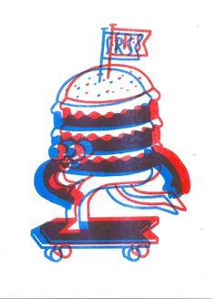 Skating Burger, Nice! | Risograph Print