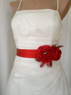 Handcraft Hot Red Two Flowers With Feathers Wedding by elitewomen, $39.50