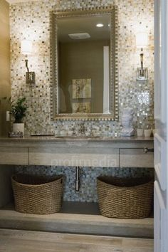 Tile Mosaic behind mirror for brushing station