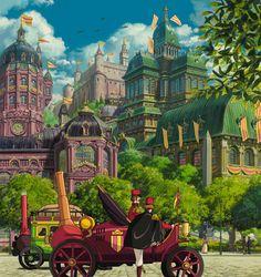 Illustration art hayao miyazaki howl's moving castle queue concept art studio ghibli background design other people's gif Hayao Miyazaki, Studio Ghibli Films, Art Studio Ghibli, Studio Ghibli Background, Animation Background, Best Ghibli Movies, Totoro, Castle Background, Fantasy City