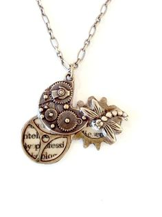 Gears and Cogs necklace Steampunk Dragonfly by AuntMatildasJewelry, $22.50
