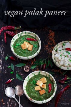Packed with Vitamins and protein, this mild and #creamy #vegan #palak #paneer (spinach and #tofu #curry) is really easy to make, takes around 35 minutes to cook, and makes for a perfect #weeknight #meal! | yumsome.com  via @yums0me Vegan Indian Recipes, Delicious Vegan Recipes, Ethnic Recipes, Spinach Curry, Creamy Spinach, Paneer Recipes, Tofu Recipes, Curry Recipes, Vegan Comfort Food