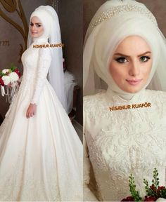 You can find different rumors about the annals of the marriage dress; Muslimah Wedding Dress, Muslim Wedding Dresses, Wedding Dress Sleeves, White Wedding Dresses, Wedding Hijab, Wedding Looks, Bridal Looks, Turban, Wedding Ideas