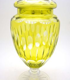 Val St. Lambert - chartreuse colored overlay covered vase