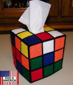 Rubik's Rubiks Rubix Rubic Cube Tissue Box Cover.As seen on The Big Bang Theory Hand Made in The USA with care $24.99