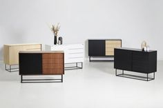 VIRKA - WOUD | The elegant sideboard is designed with sliding doors so it will never take up unnecessary space in your room. The strong geometrical frame elegantly lif ts the sideboard above the floor and adds lightness to the design. Inside the Virka sideboard has one adjustable shelf in each side with room to let cables pass out the back making the design both functional and minimalistic. Sideboard Furniture, New Furniture, Online Furniture, Furniture Design, Rooms To Let, Adjustable Shelving, Furniture Removal, Danish Design, Contemporary Furniture